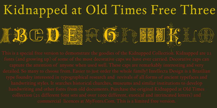 Kidnapped At Old Times Free 3 Font