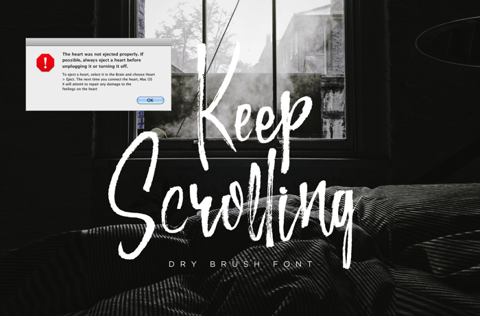Keep Scrolling Font poster