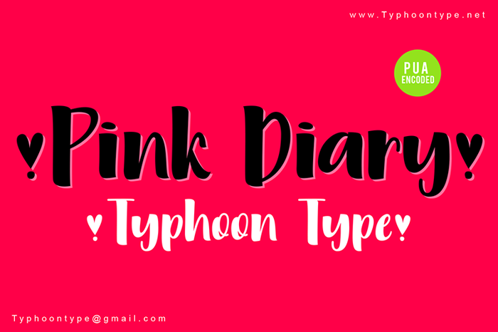 Pink Diary - Font poster