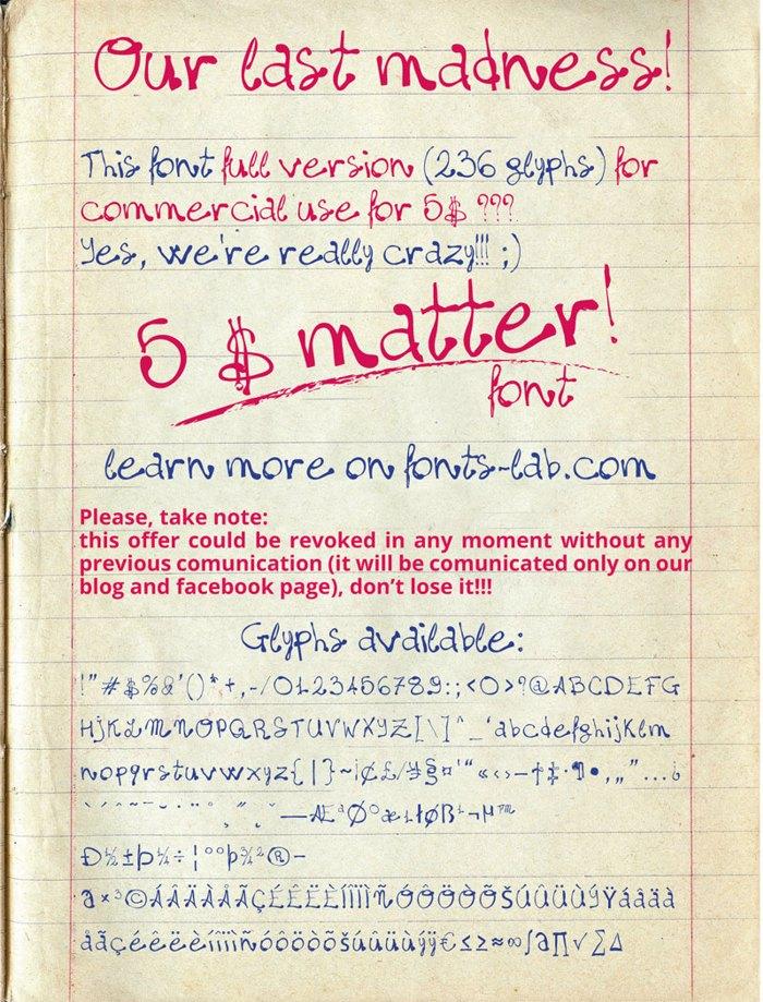 madness=five$matter! Font