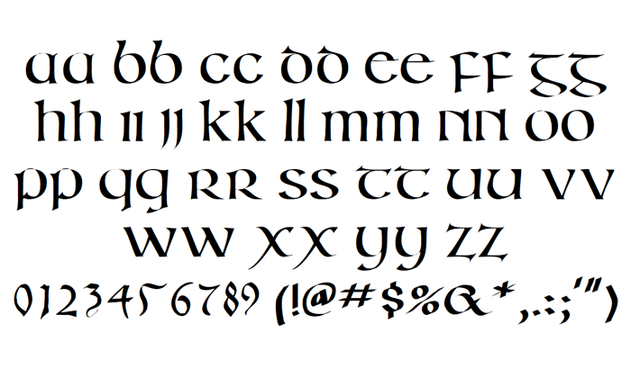 Irish Unci Alphabet Font poster