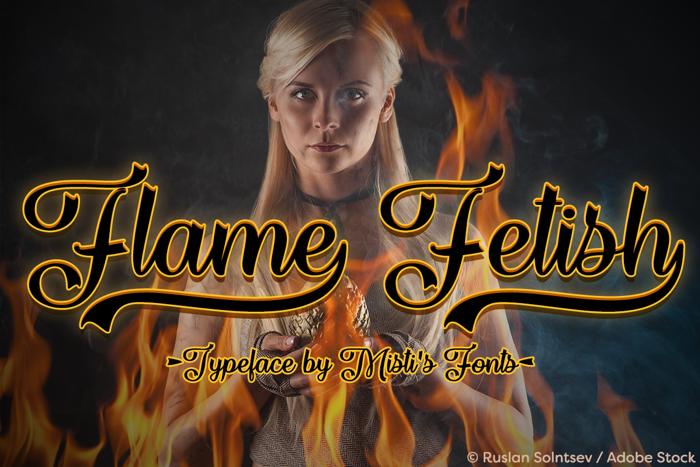 Flame Fetish Font poster