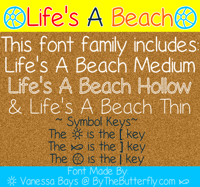 Life's A Beach Font poster