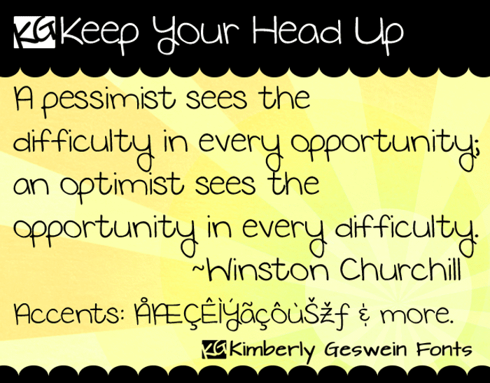 KG Keep Your Head Up Font poster