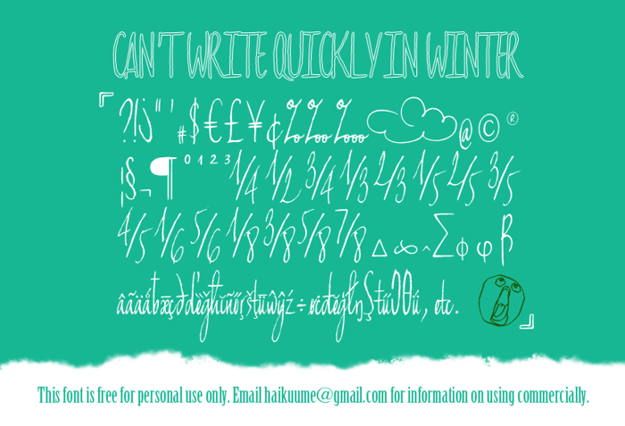 Can't write quickly in winter Font