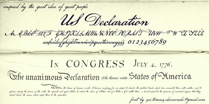 US Declaration Font poster