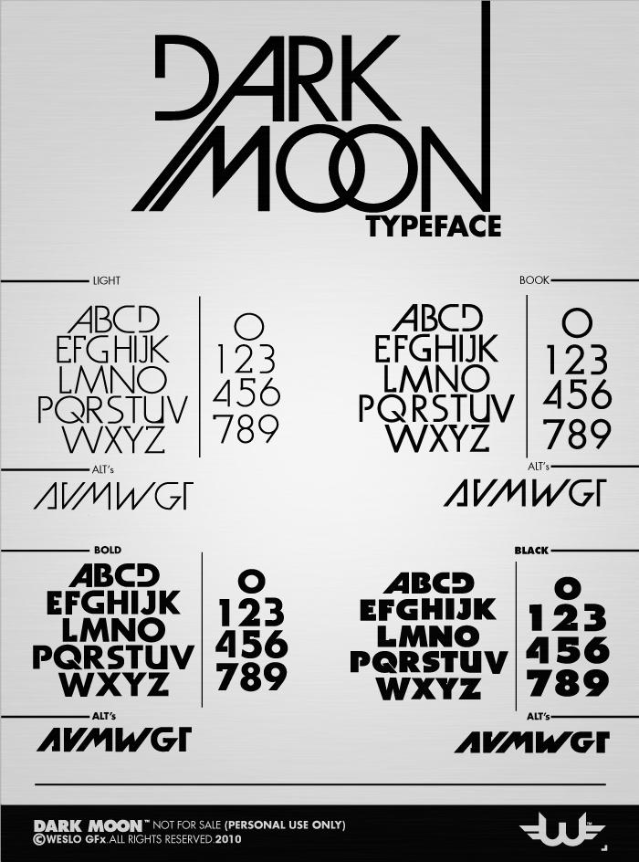 Dark Moon Font poster