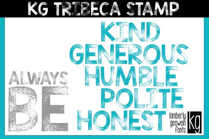 KG TRIBECA STAMP Font poster