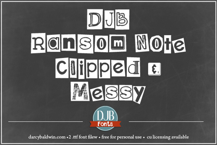 DJB Ransom Note Clipped Font poster