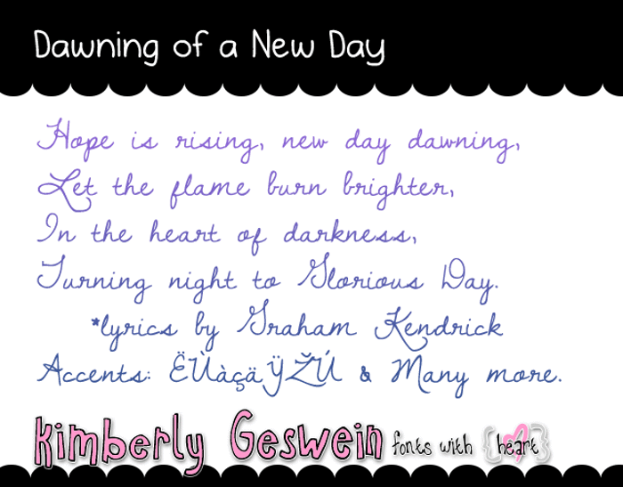 Dawning of a New Day Font poster