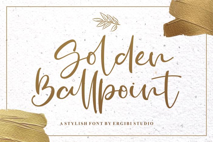 Golden Ballpoint Font poster