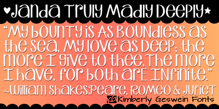 Janda Truly Madly Deeply Font poster