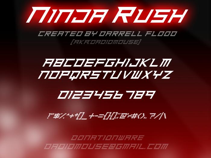 Ninja Rush Font poster