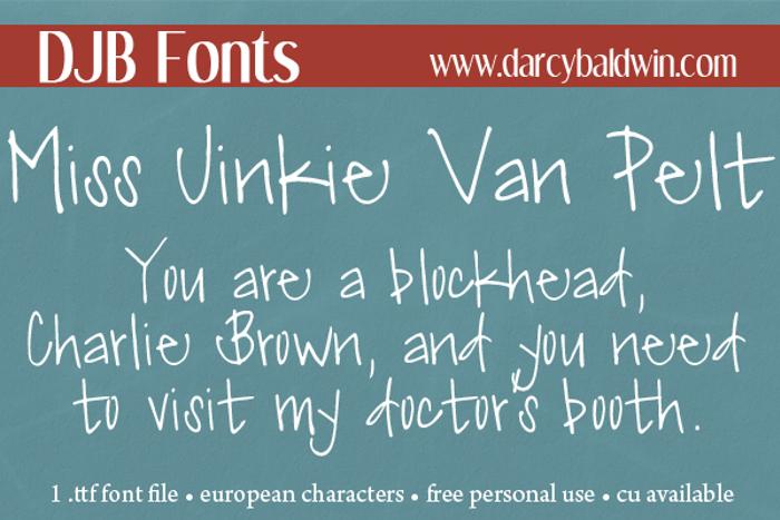 DJB Miss Jinkie Van Pelt Font poster