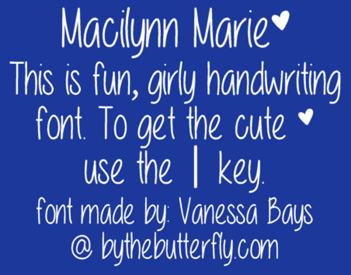 Macilynn Marie Font poster