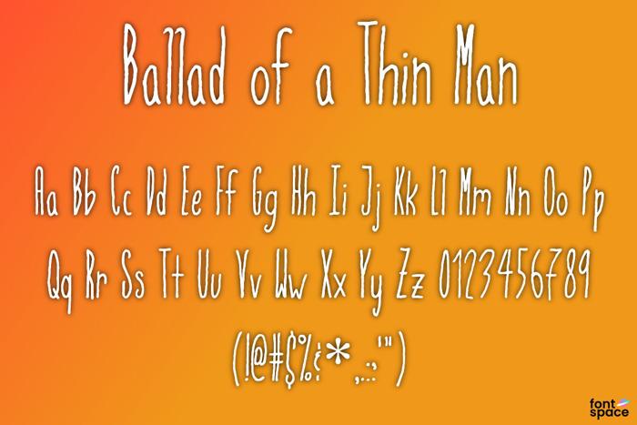 Ballad of a Thin Man Font poster