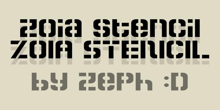 Zoia Stencil Font poster