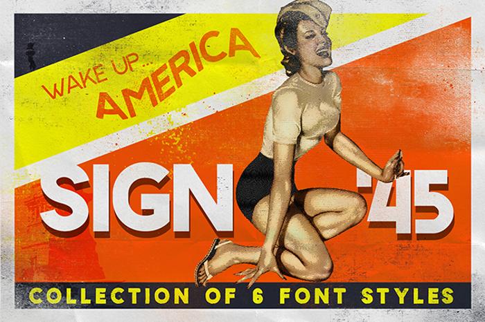Sign45- Stamped Font poster