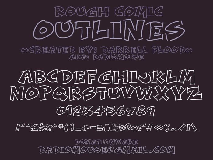 Rough Comic Outlines Font poster