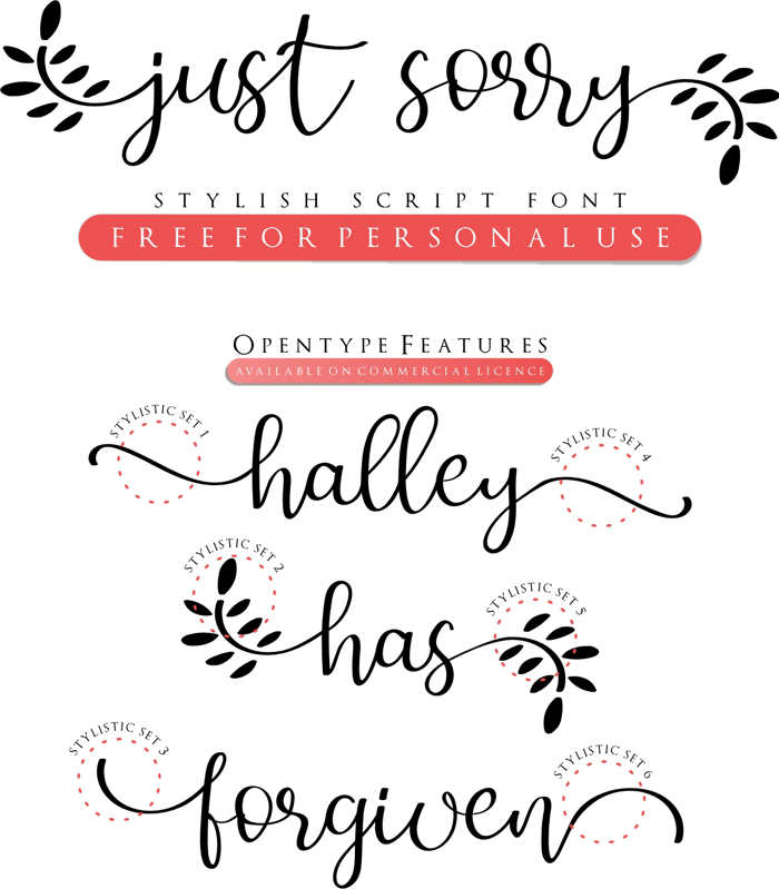 Just Sorry Font poster