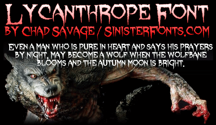 Lycanthrope Font poster