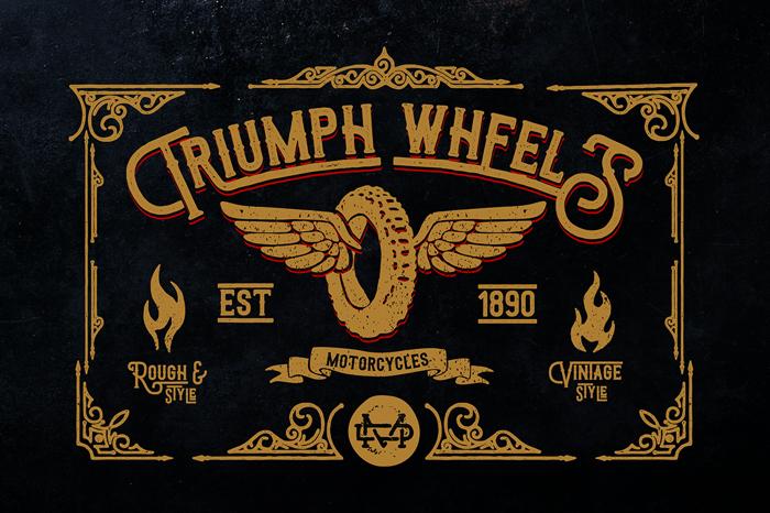 Triumph wheels rough Font poster
