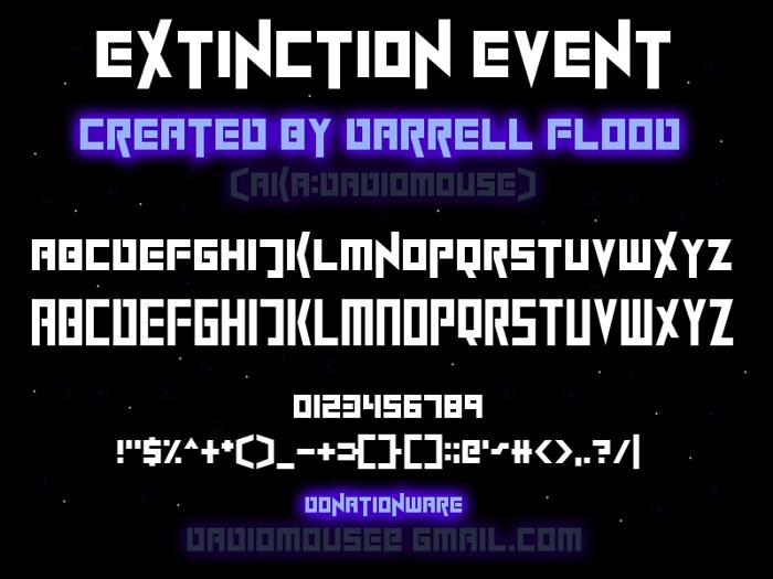 ExtinctionEvent Font poster