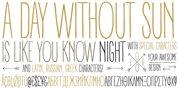 A DAY WITHOUT SUN Font poster