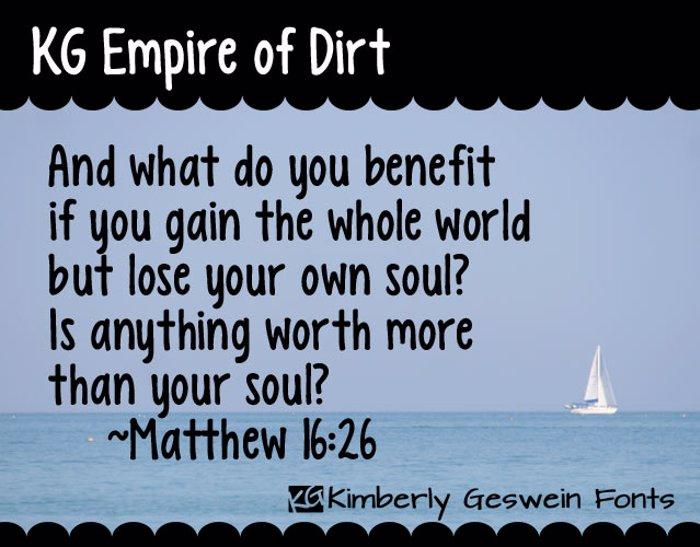 KG Empire of Dirt Font poster