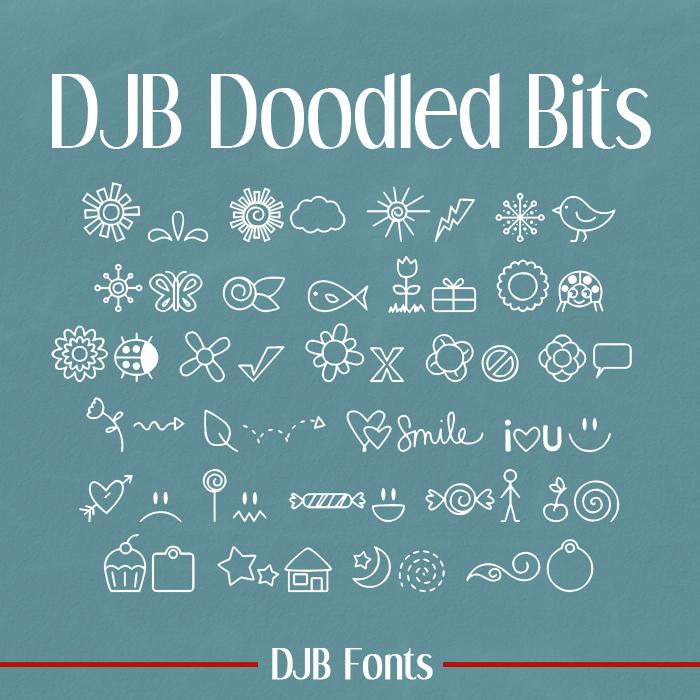 DJB DOODLED BITS Font poster