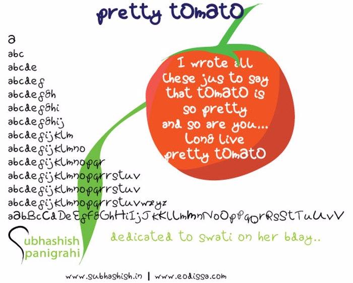 Pretty tOmAtO Font poster