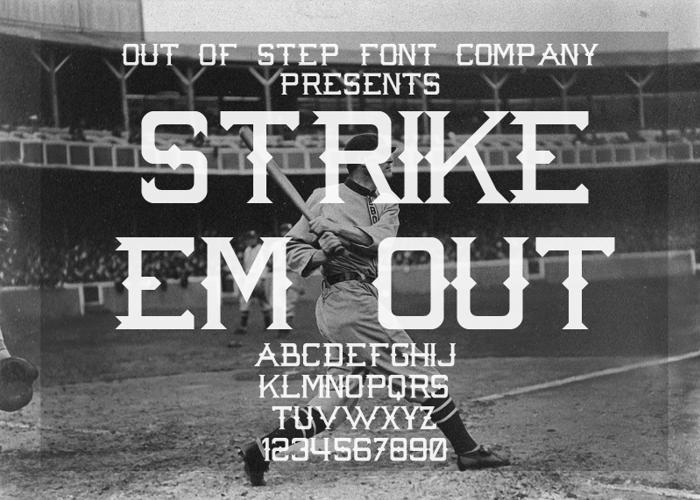 Strike 'Em Out Font poster