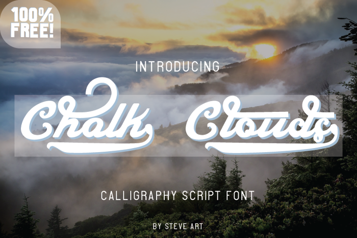 Chalk Clouds 100% Free Font poster