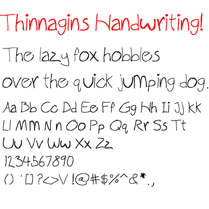 Thinnagins handwriting Font poster