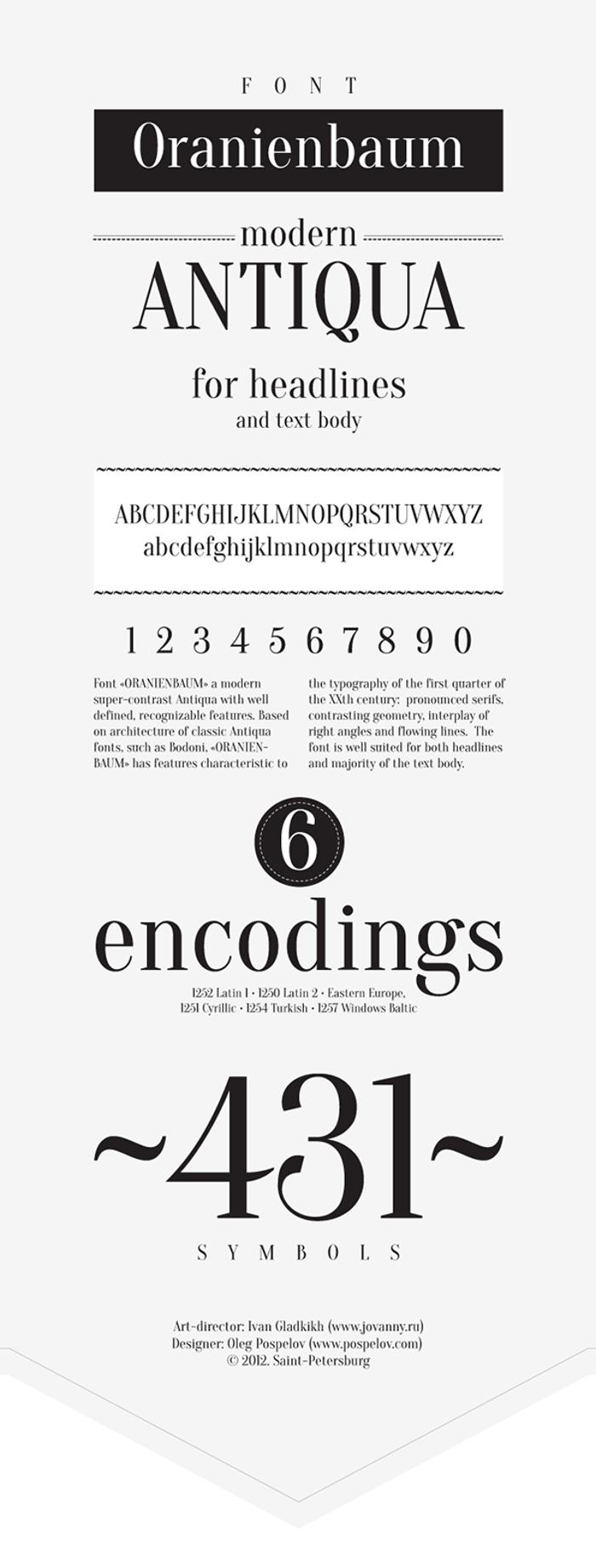 Oranienbaum Font poster