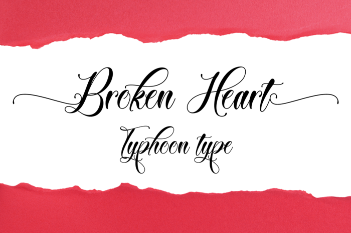 Broken Heart Font poster