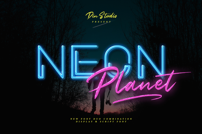Neon Planet Display Personal Us Font poster