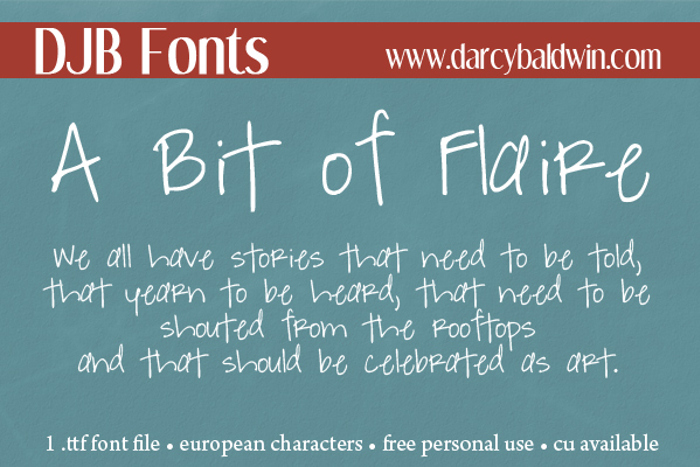 DJB A Bit of Flaire Font poster