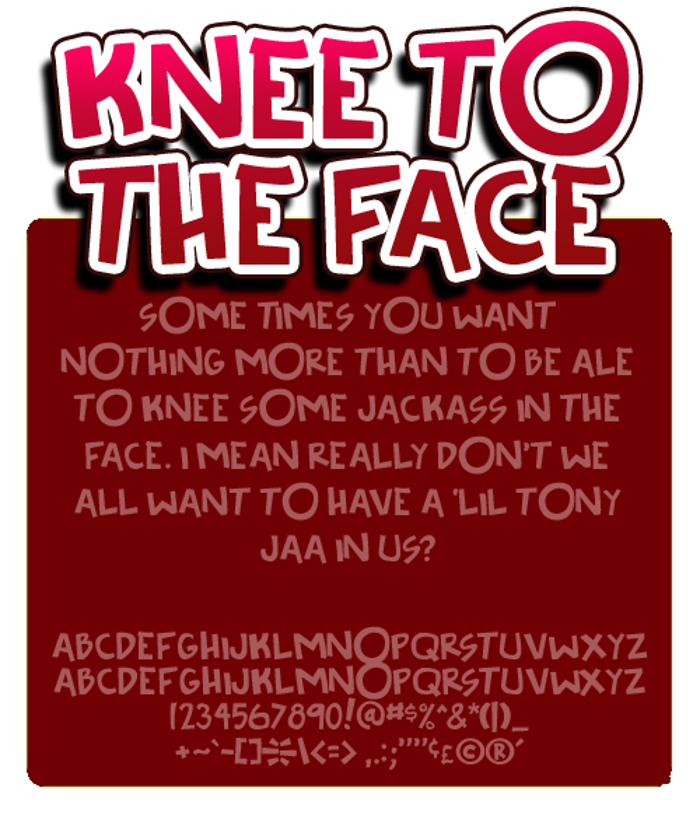 Knee to the face Font poster