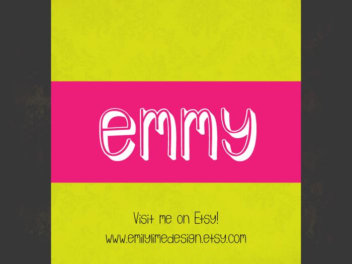 Emmy 3D Font poster