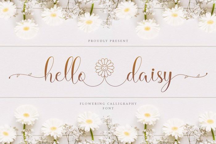 Hello Daisy - Flowering Script Font poster