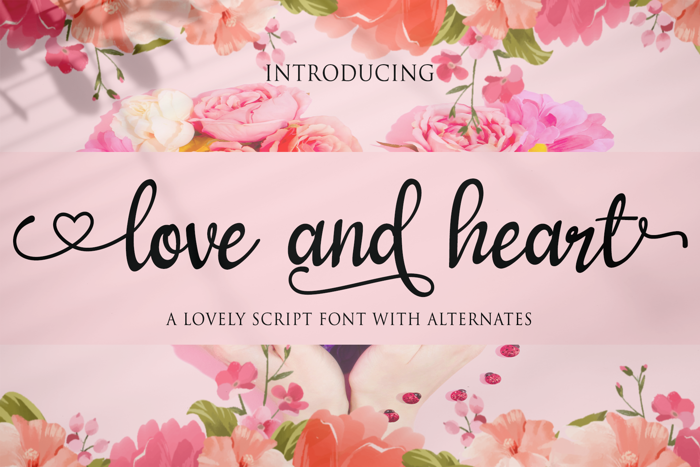 love and heart Font poster