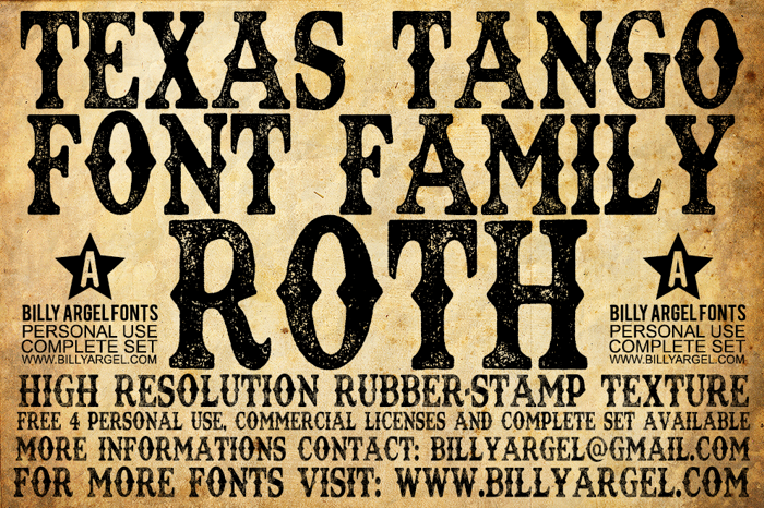 TEXAS TANGO EXTRA ROTH Font poster