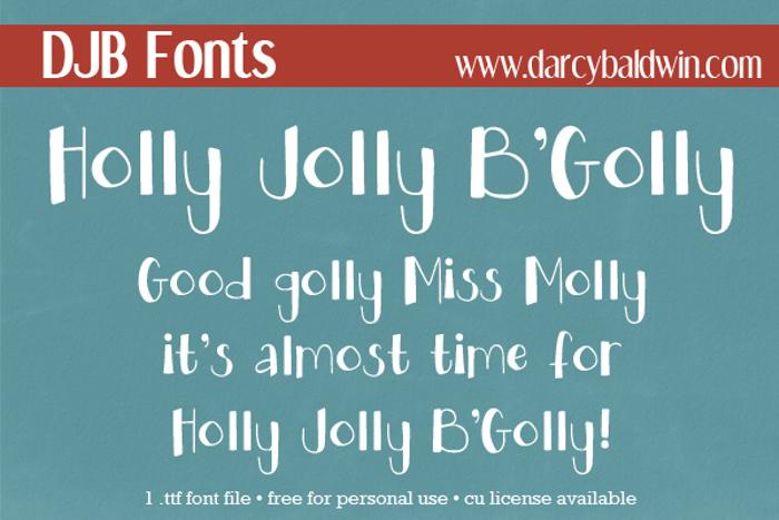 DJB HOLLY JOLLY B'GOLLY Font poster