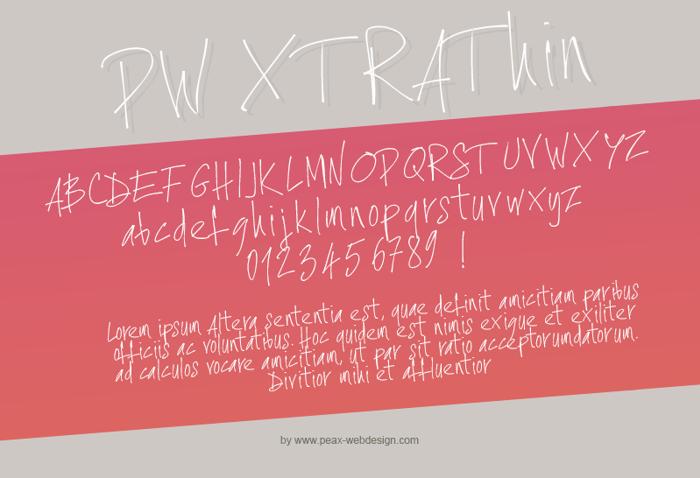 PWXtraThin Font poster