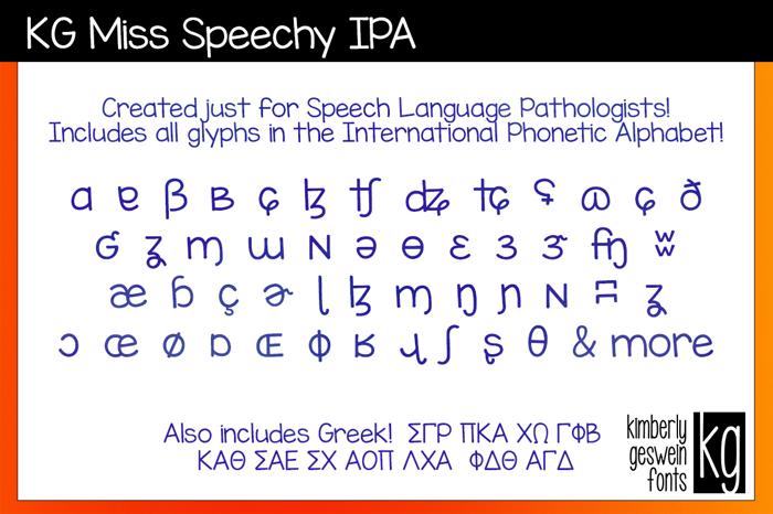 KG Miss Speechy IPA Font poster
