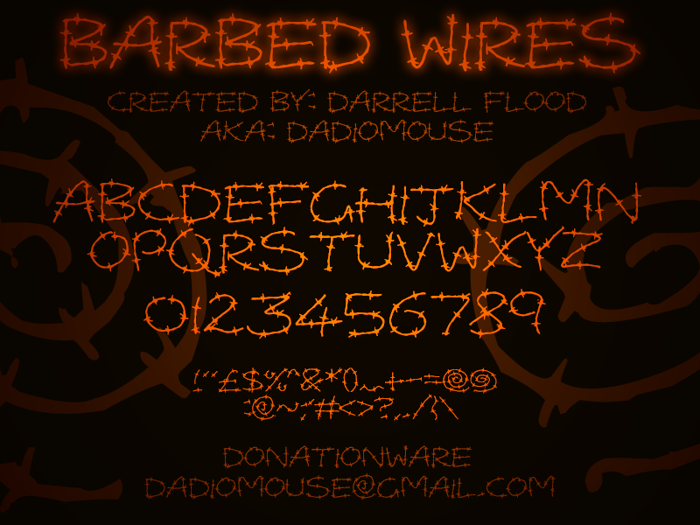 Barbed Wires Font poster
