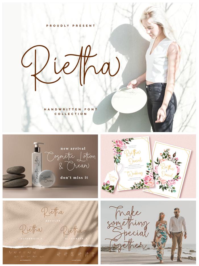 Rietha Font poster