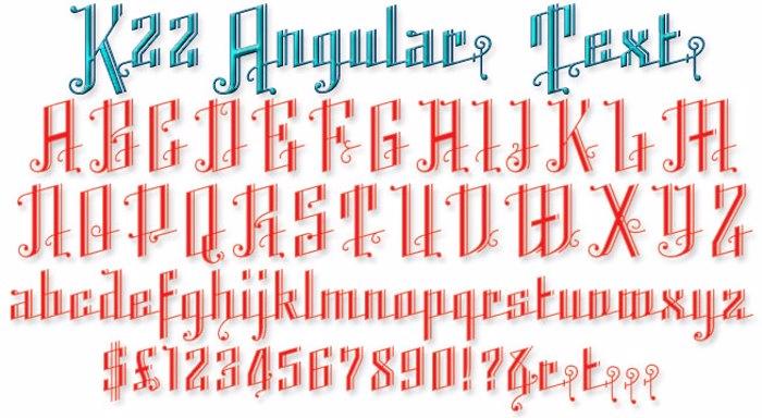 K22 Angular Text Font poster