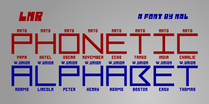 LNR Phonetic Alphabet Font poster
